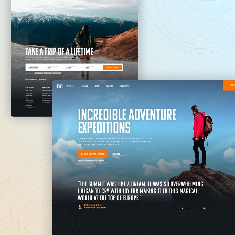 Small snippet showcasing the homepage of the newly launched website for @adventurebase a leading organiser of life changing experiences founded by @kentoncool   Go check out the live site  #webdesign #responsivedesign #responsive #travel #travelgram #ux #ui #designinspiration #dribbble #behance #designagency