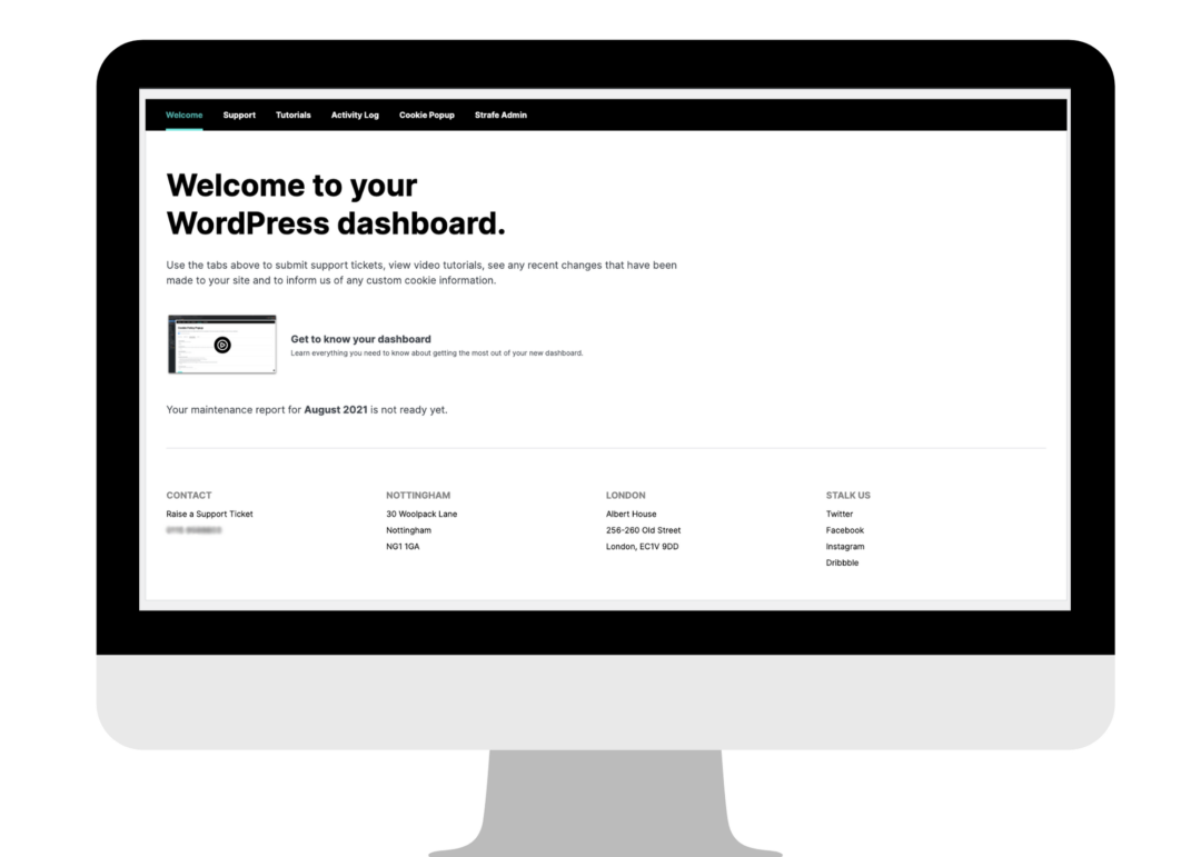 Screenshot of the Welcome dasboard