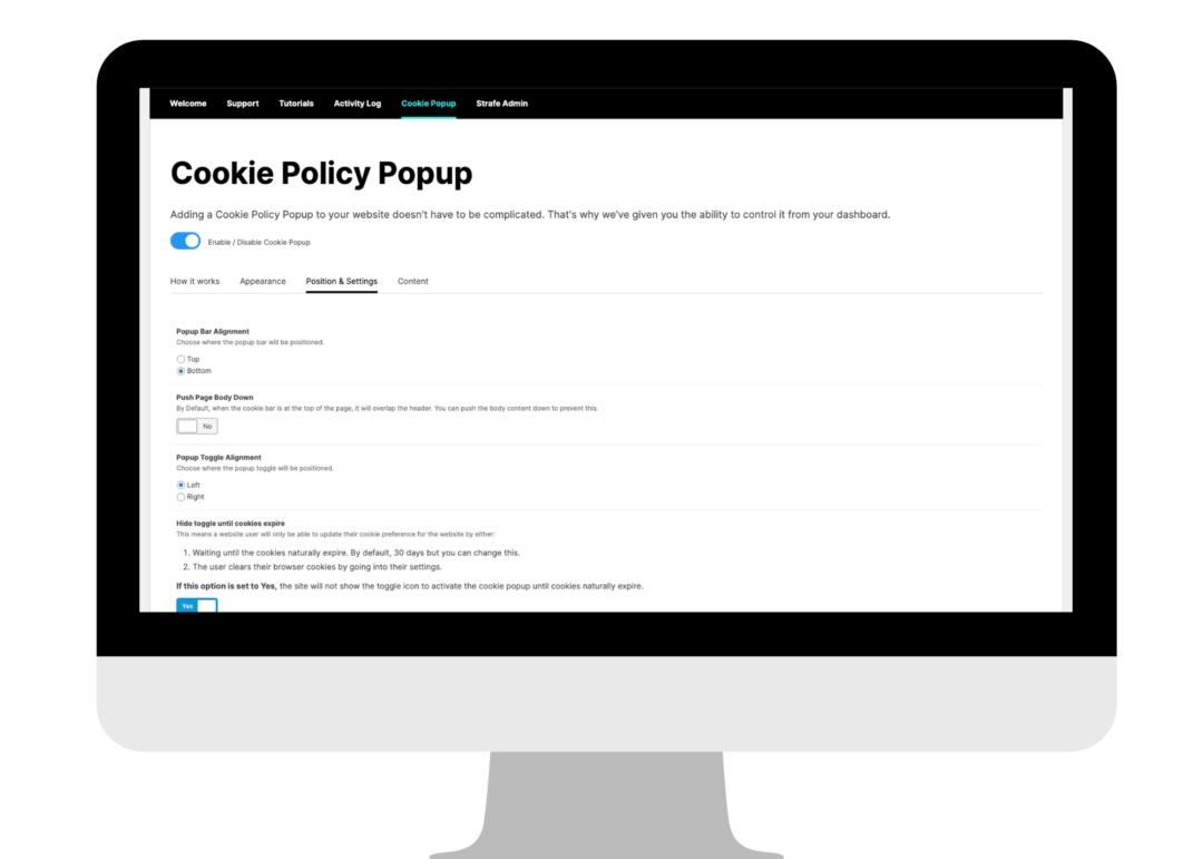Cookie pop up screenshot of the screen